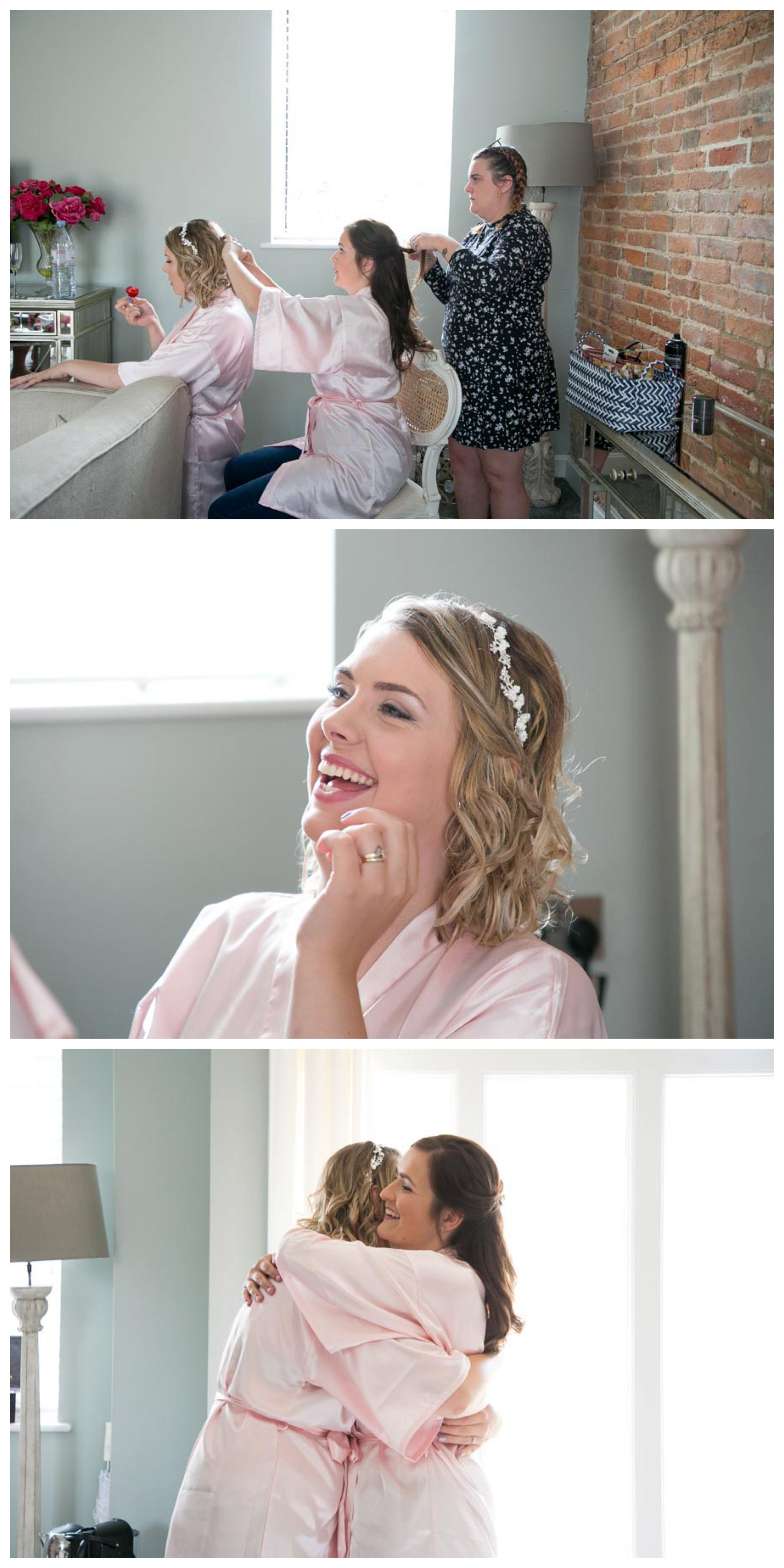 bride and friends getting ready and laughing