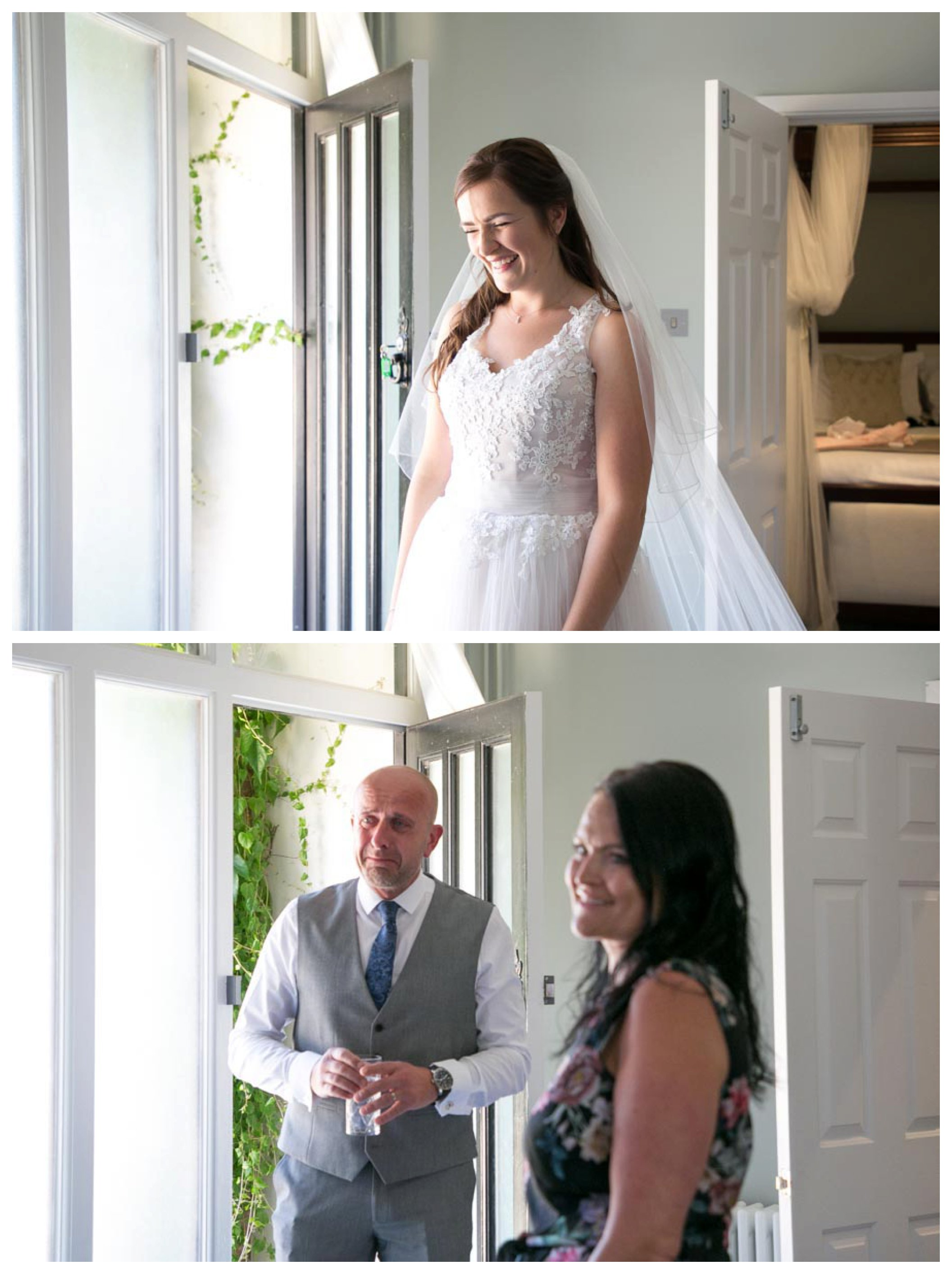 smiling bride and tearful father of the groom