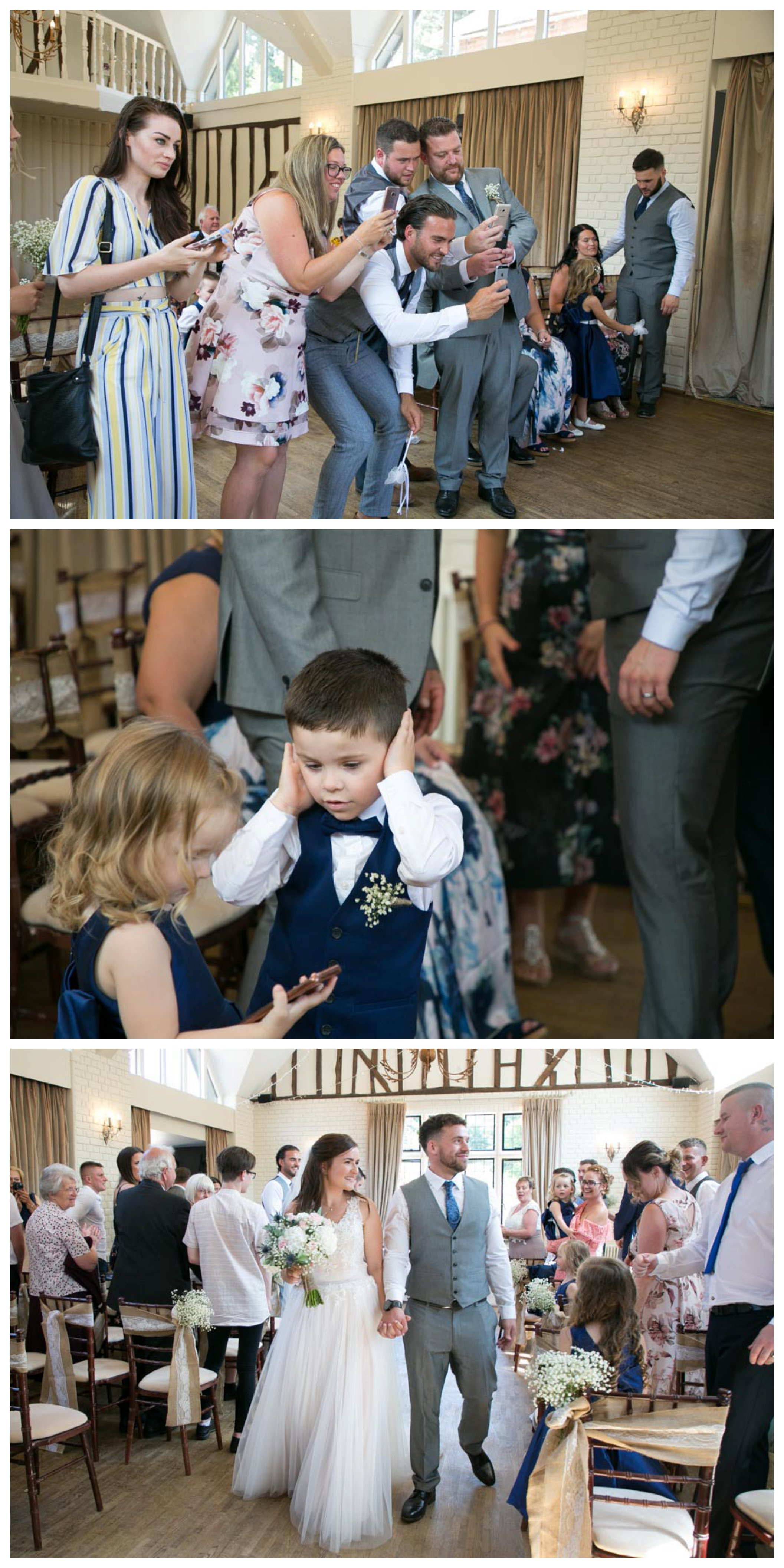 fun photos of wedding ceremony as lots of guests take photos and couple walk down the aisle