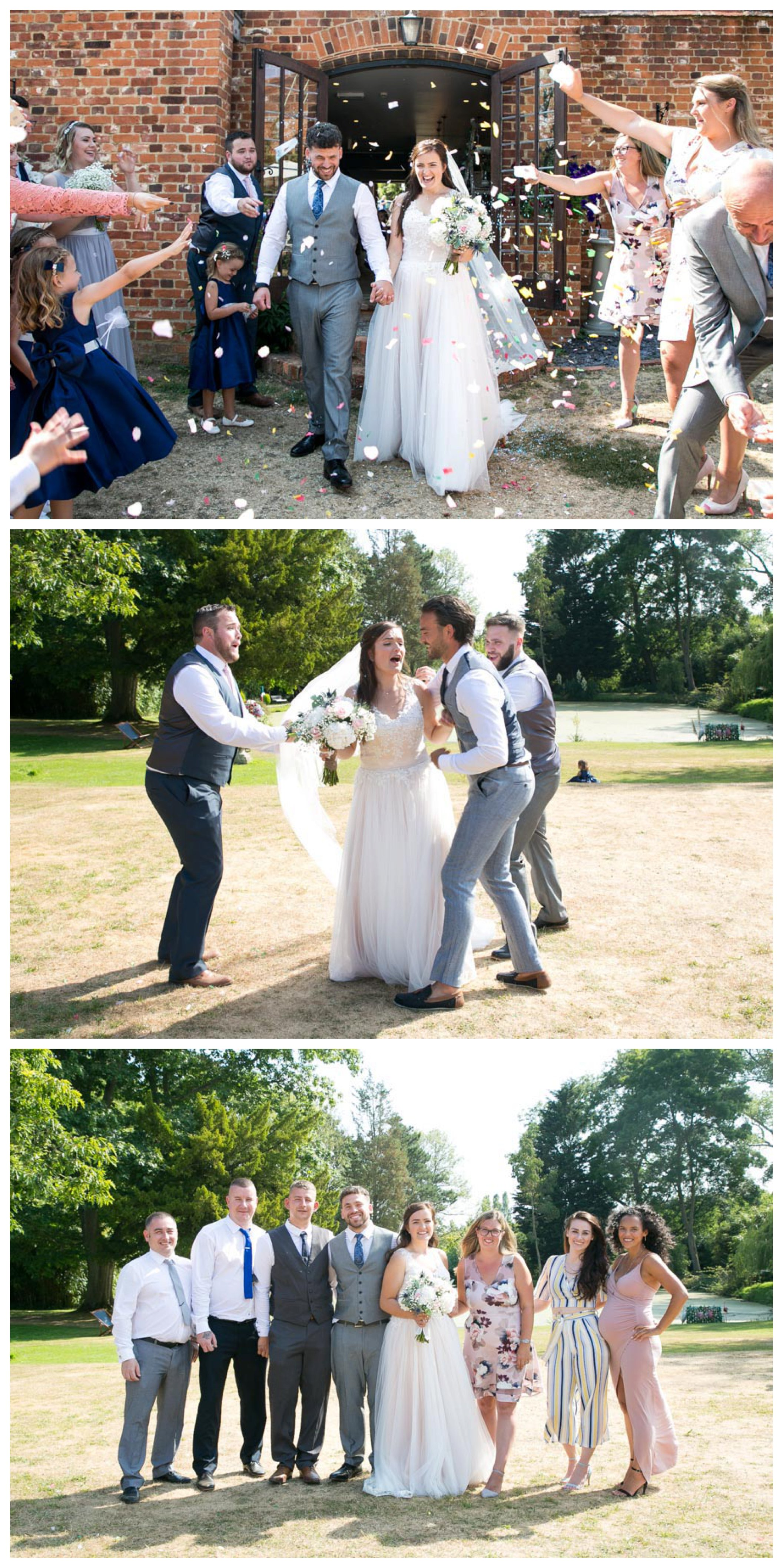confetti photograph and groups photos at pretty pink wedding at Seckford Hall Suffolk