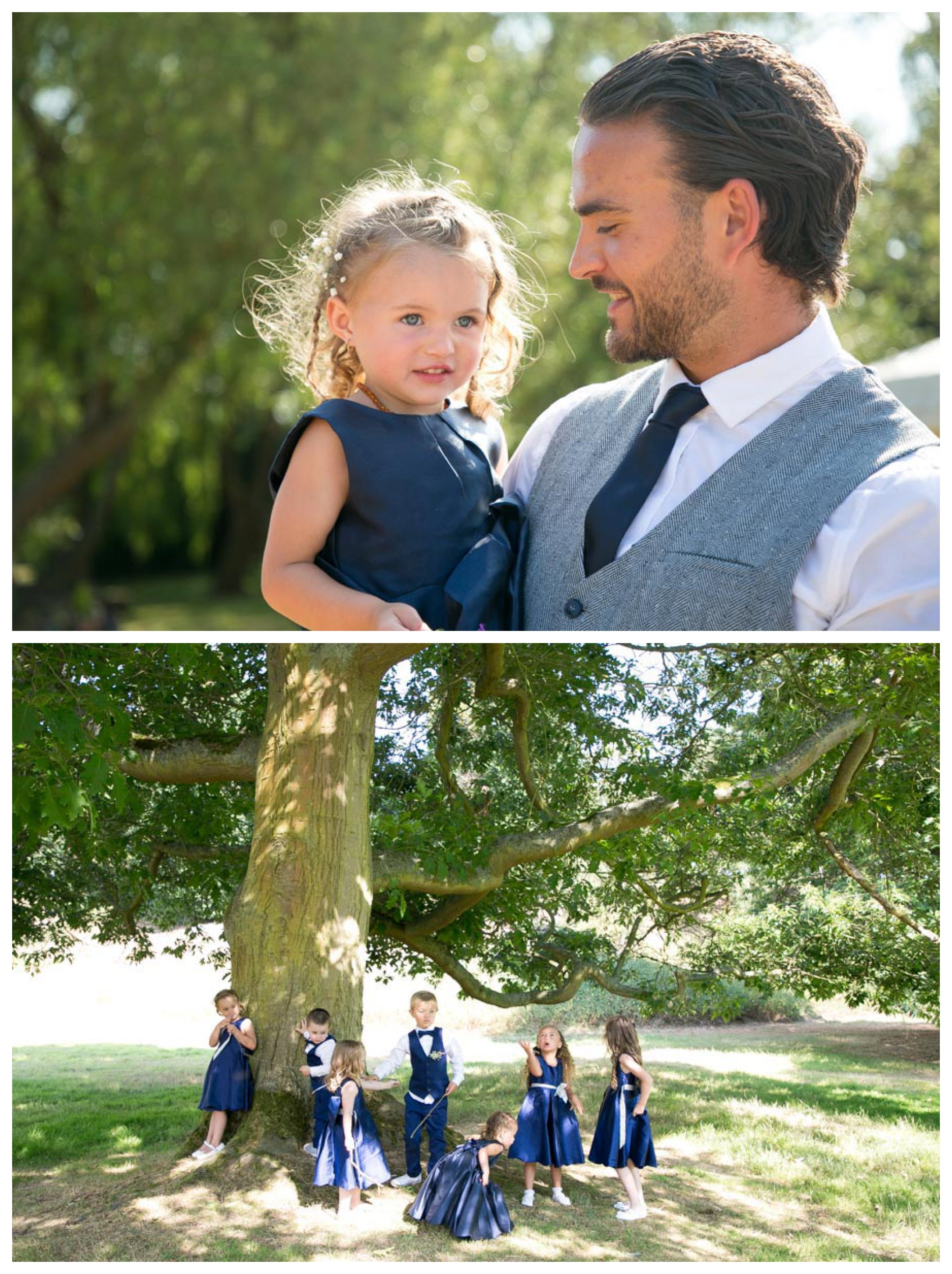 bridesmaids and page boys in sunshine wearing dark blue