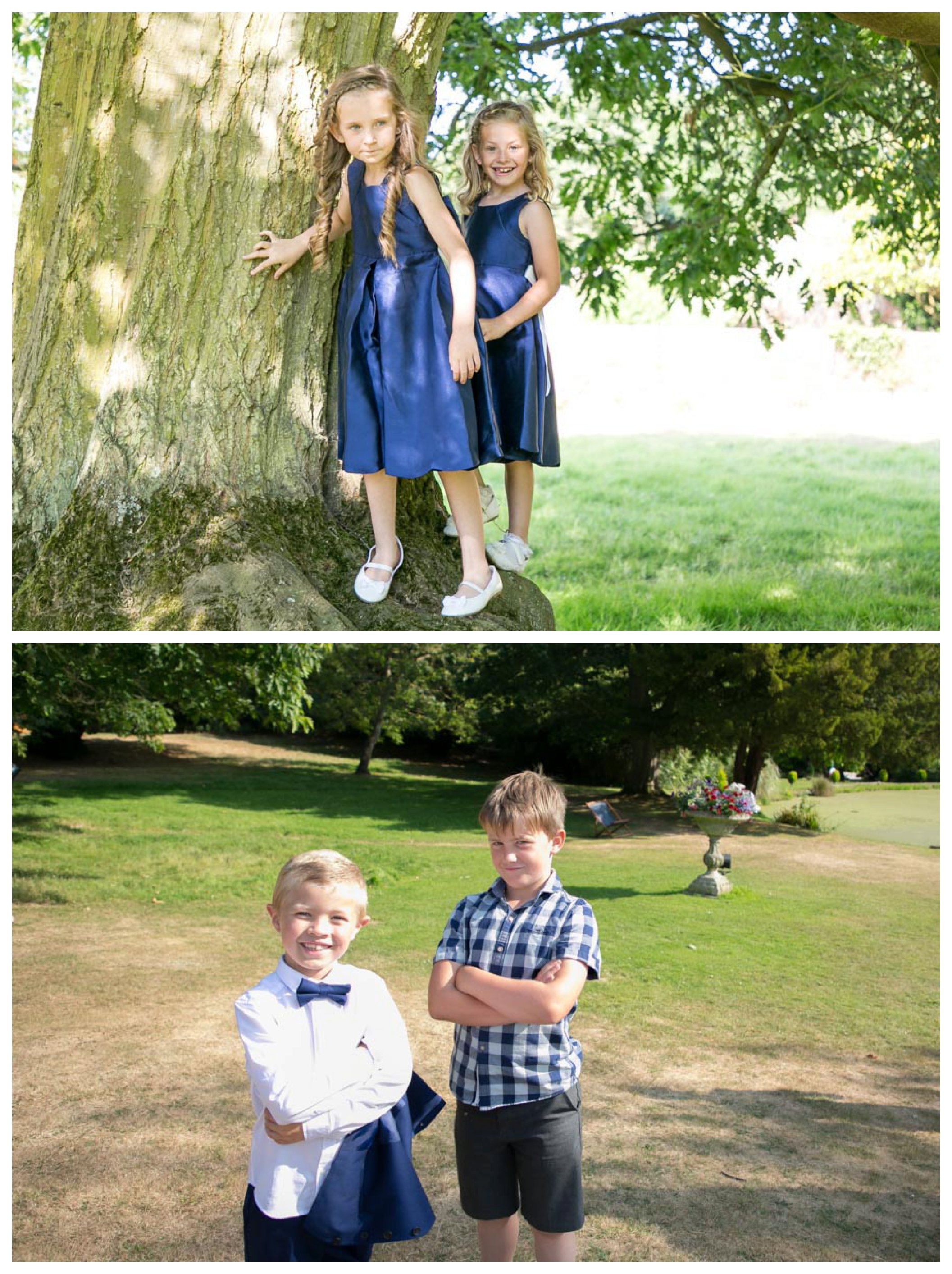 kids at fun suffolk wedding in the sunshine