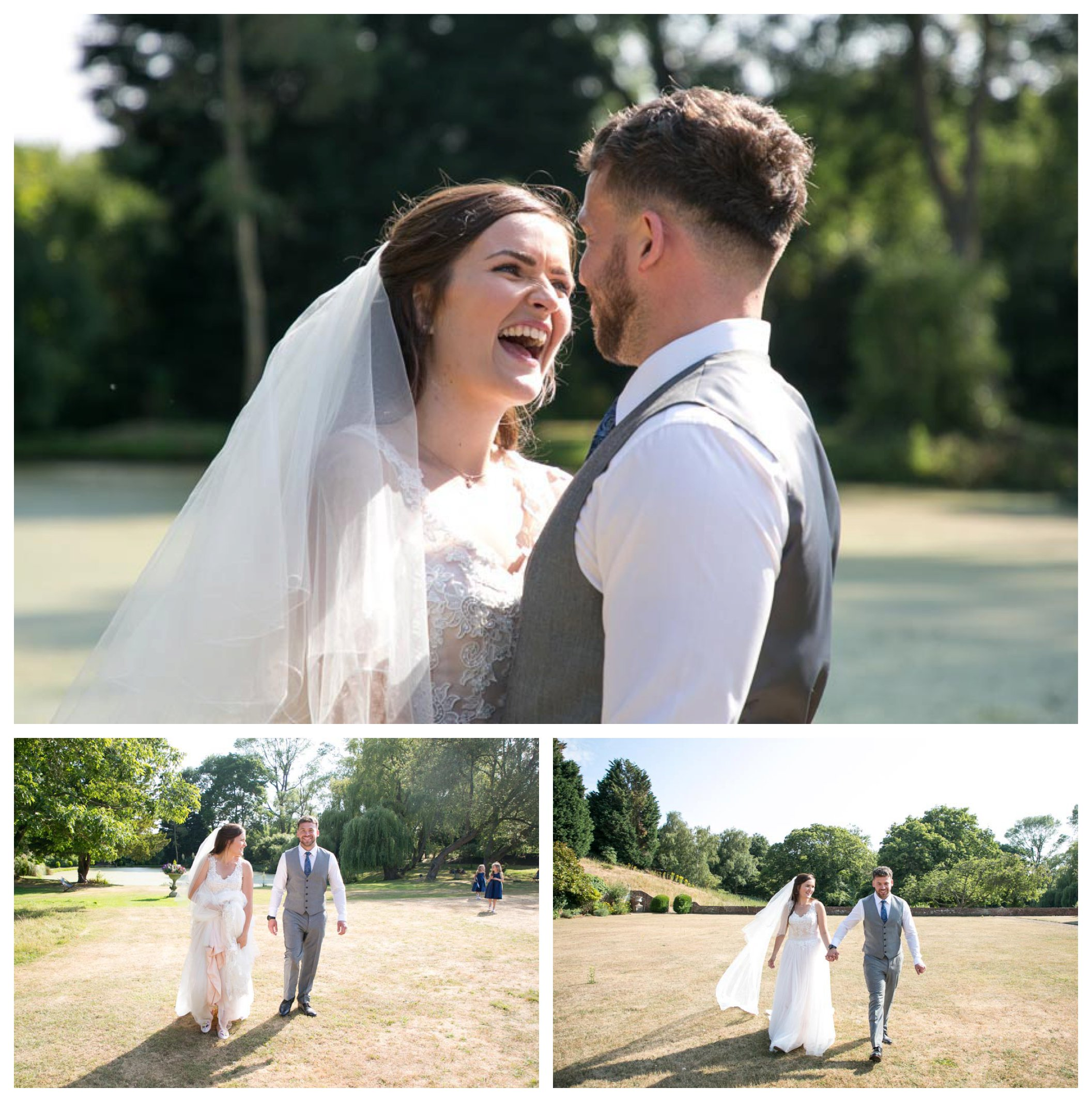 happy bride and groom in sunshine at seckford hall wedding
