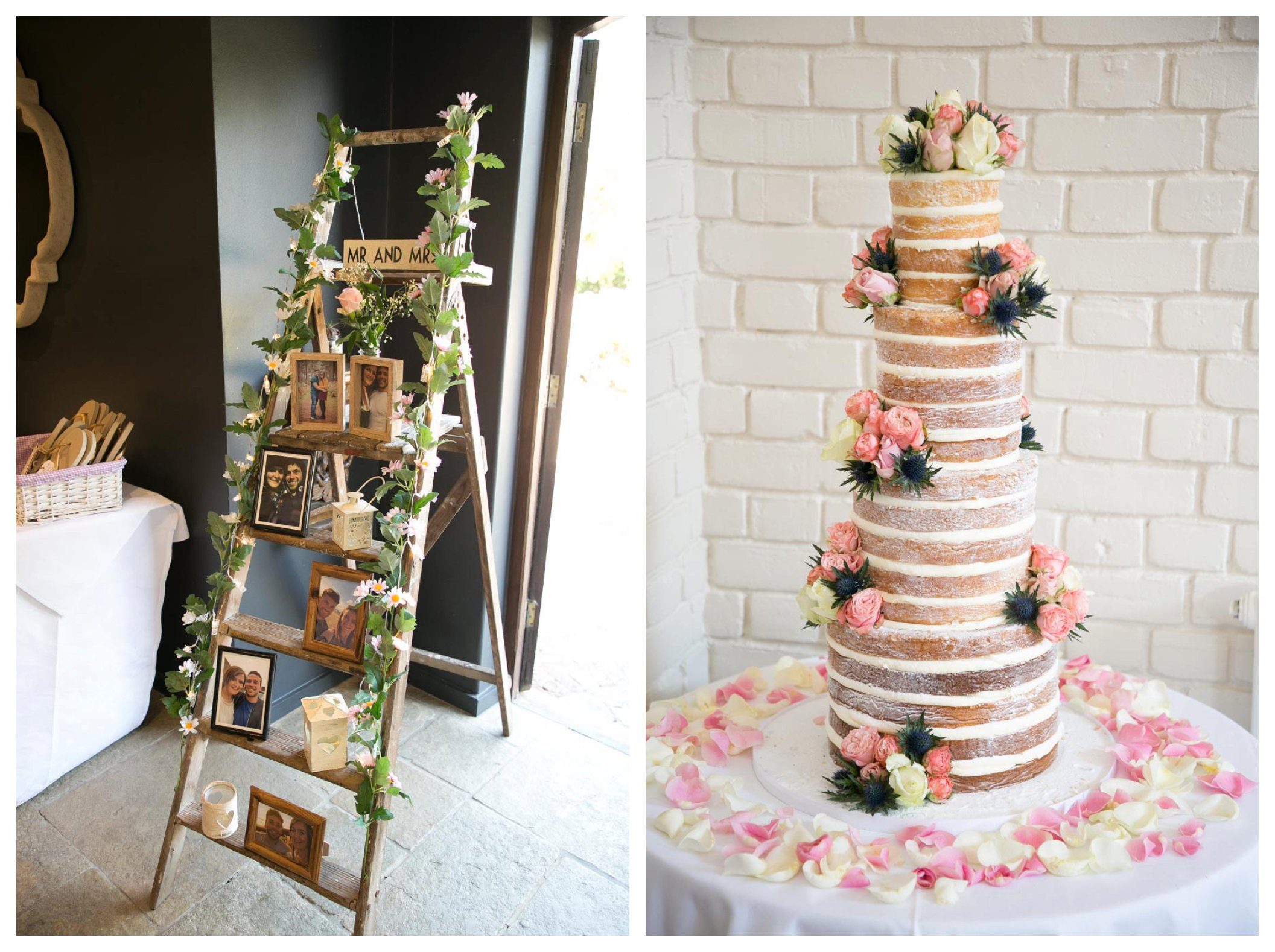 wedding ladder with photos and pink themed naked wedding cake