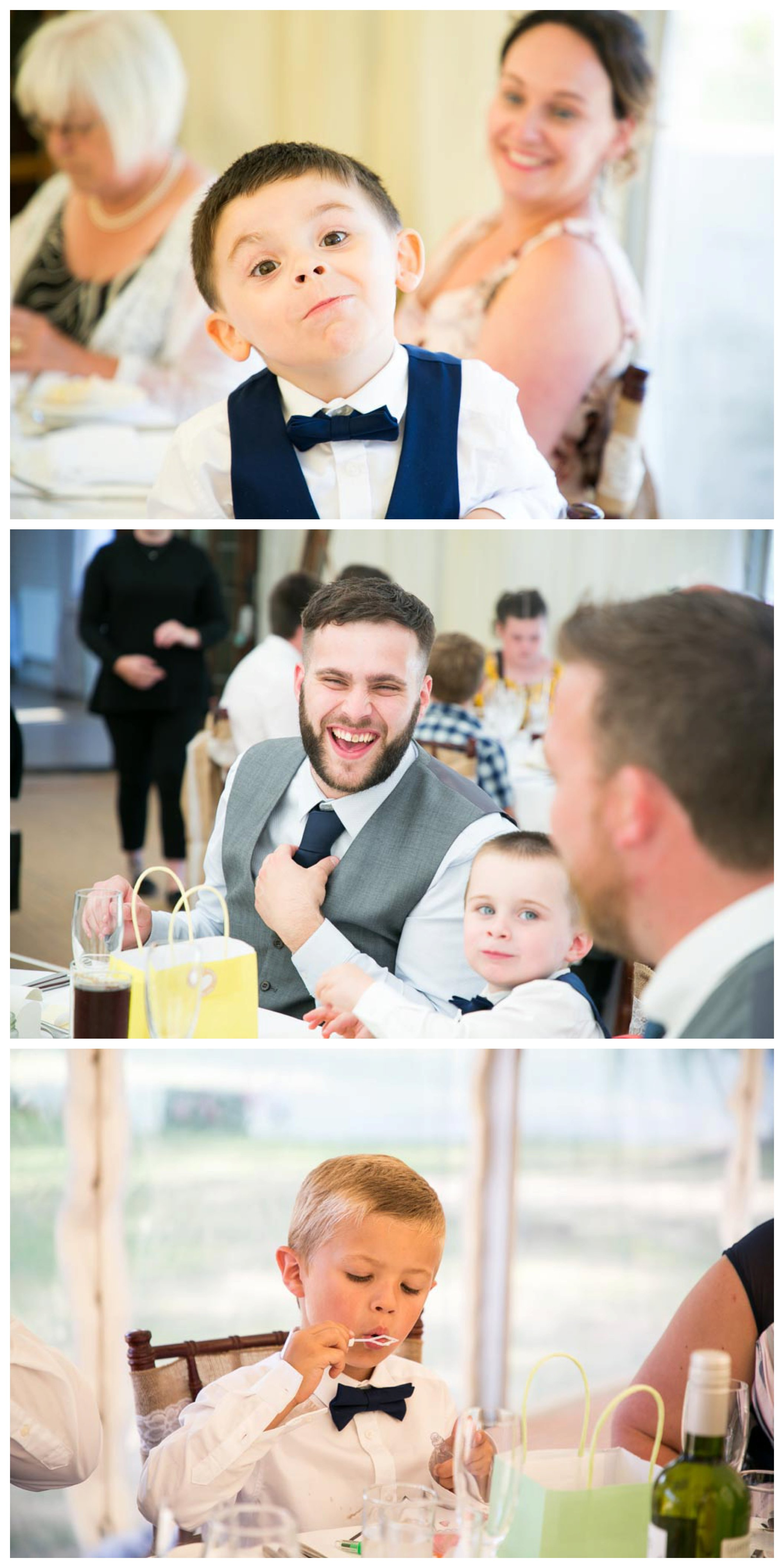 relaxed photos of people having fun at wedding breakfast at Seckford Hall