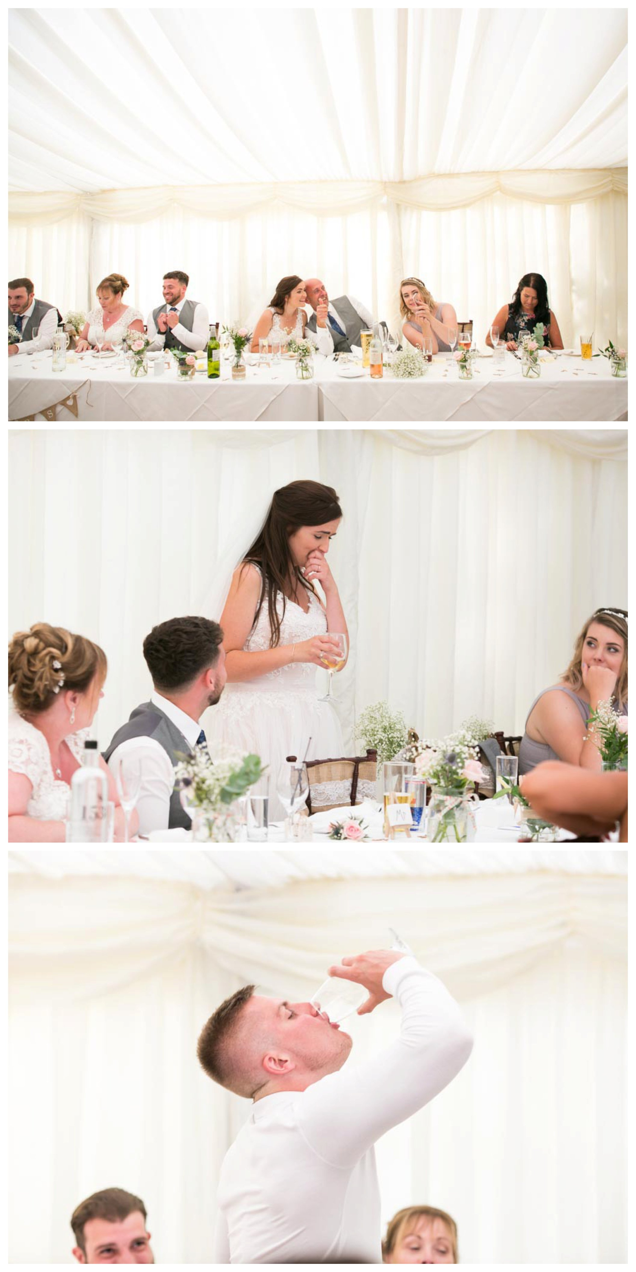 bride and guest downing drinks at funny wedding reception