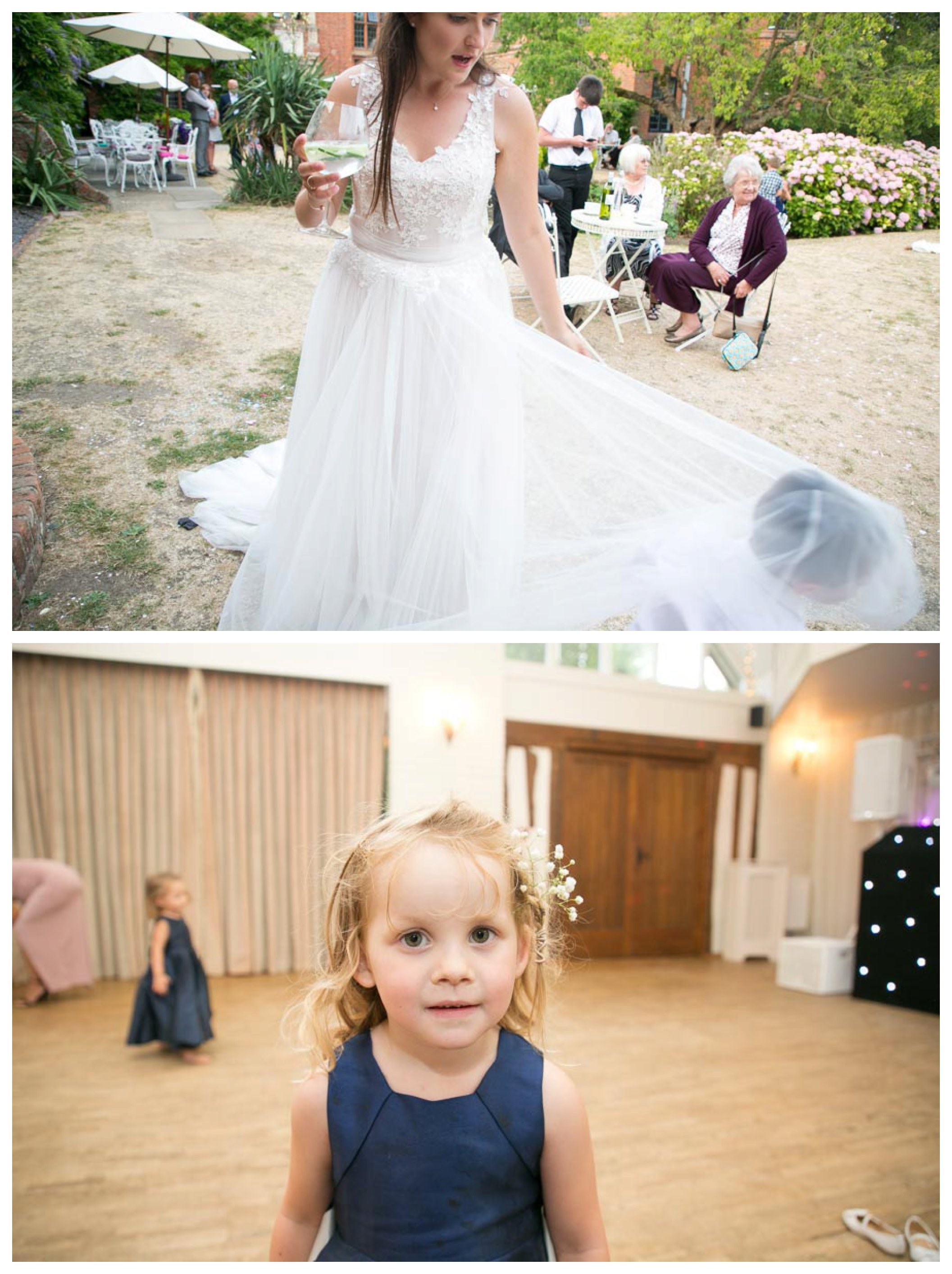 child under brides dress and child on dancefloor at suffolk wedding