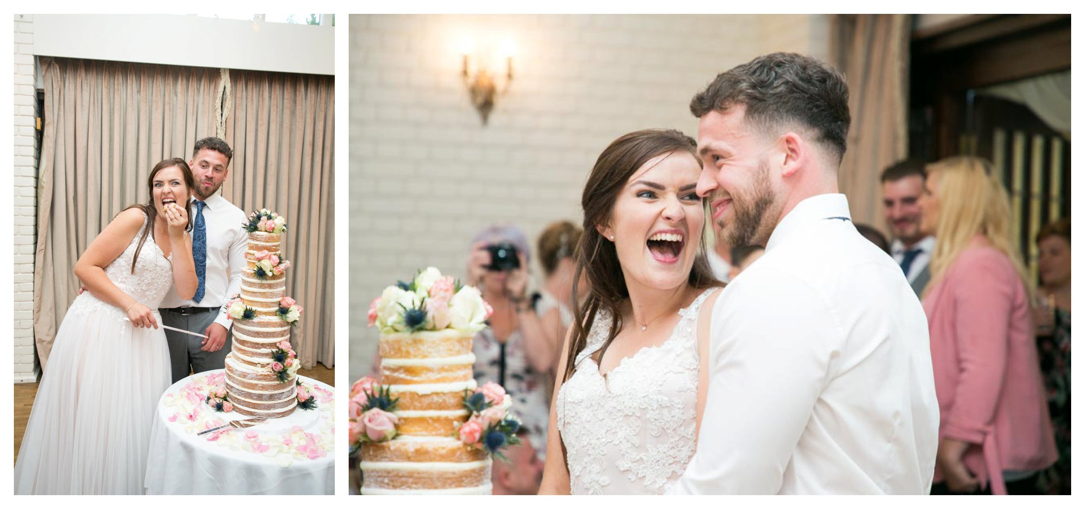 bride and groom laughing whilst cutting naked wedding cake