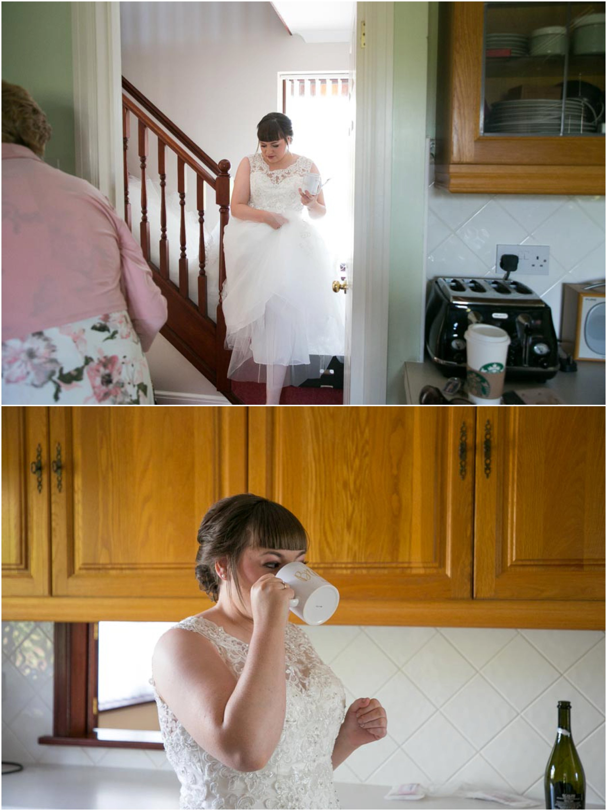 bride getting ready and having a cup of tea before wedding