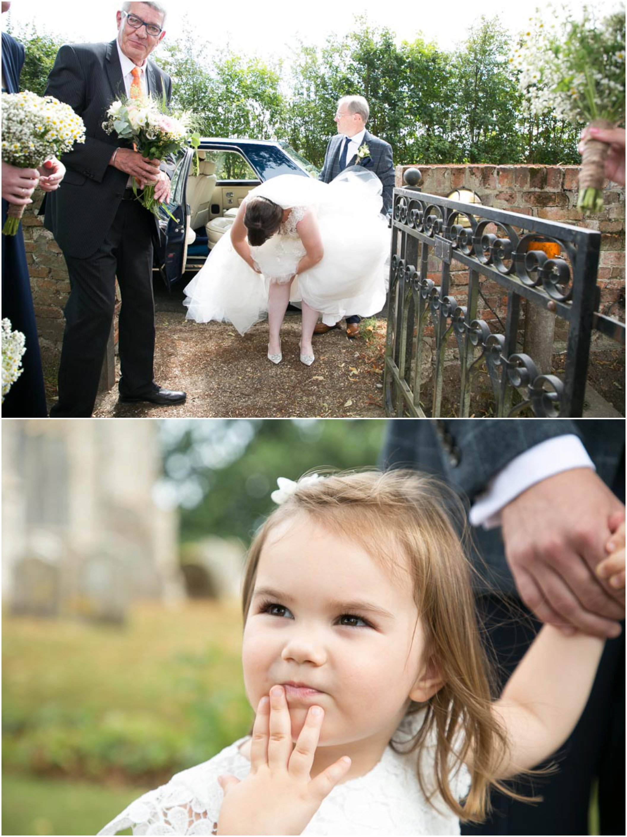 bride arranging garter at wedding and small girl