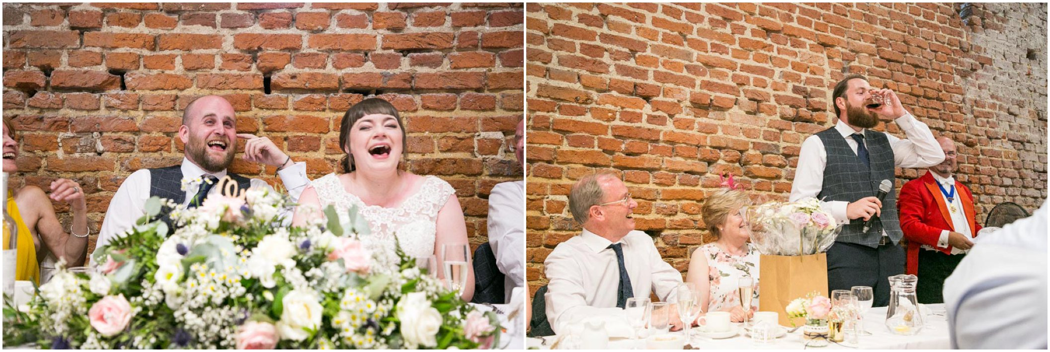 laughing couple at wedding speeches