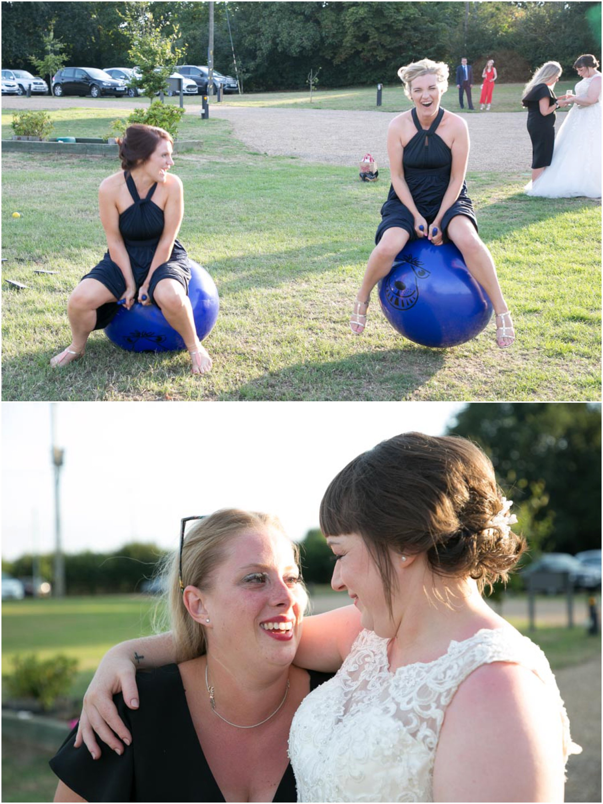 bridesmaids on space hoppers at suffolk wedding