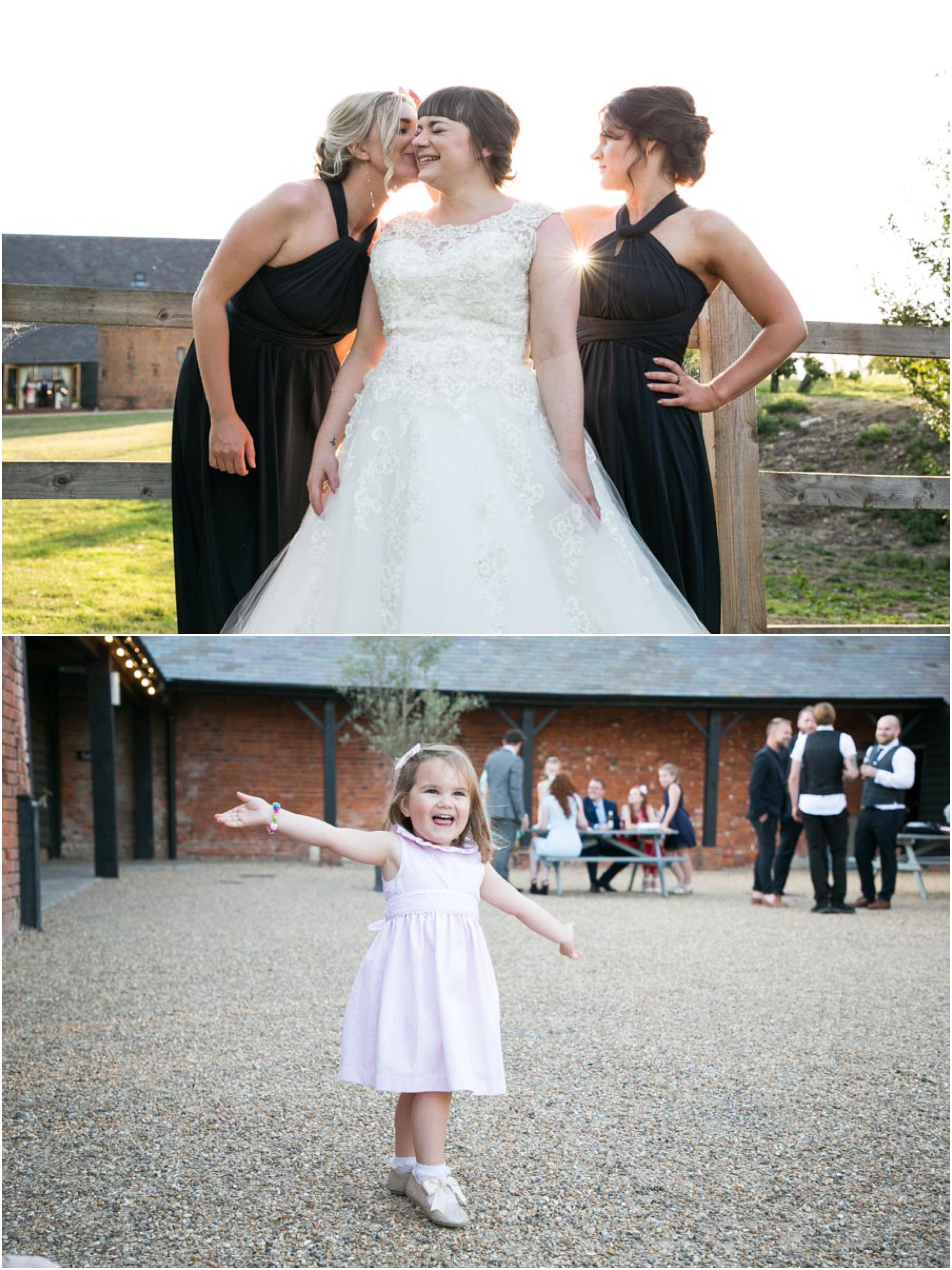 bridesmaids with bride in golden hour light and small girl dancing