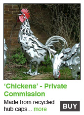 Recycled Chickens Sculpture