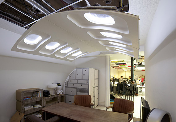 Giant light made from recycled Airbus plane parts