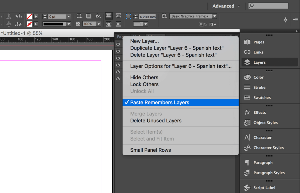 Copy Indesign Layer - Paste in Remembers Layers