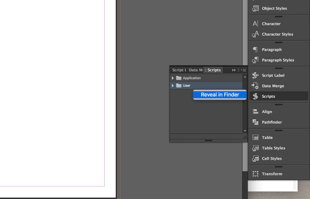 Copy Indesign Layer - Reveal Script folder in Finder