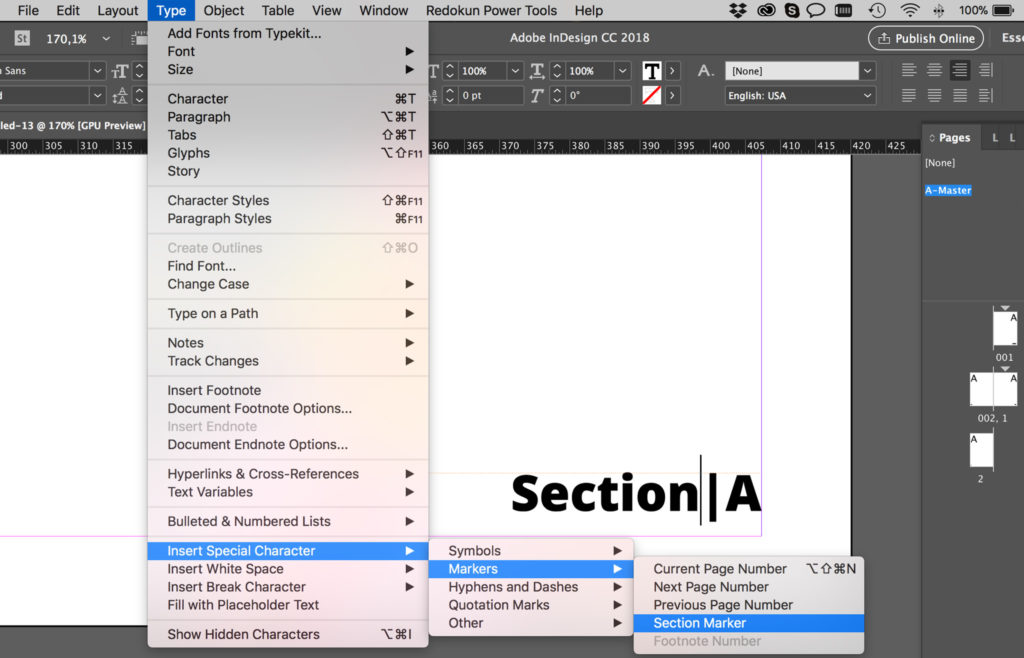 Add Section Marker to InDesign page numbers