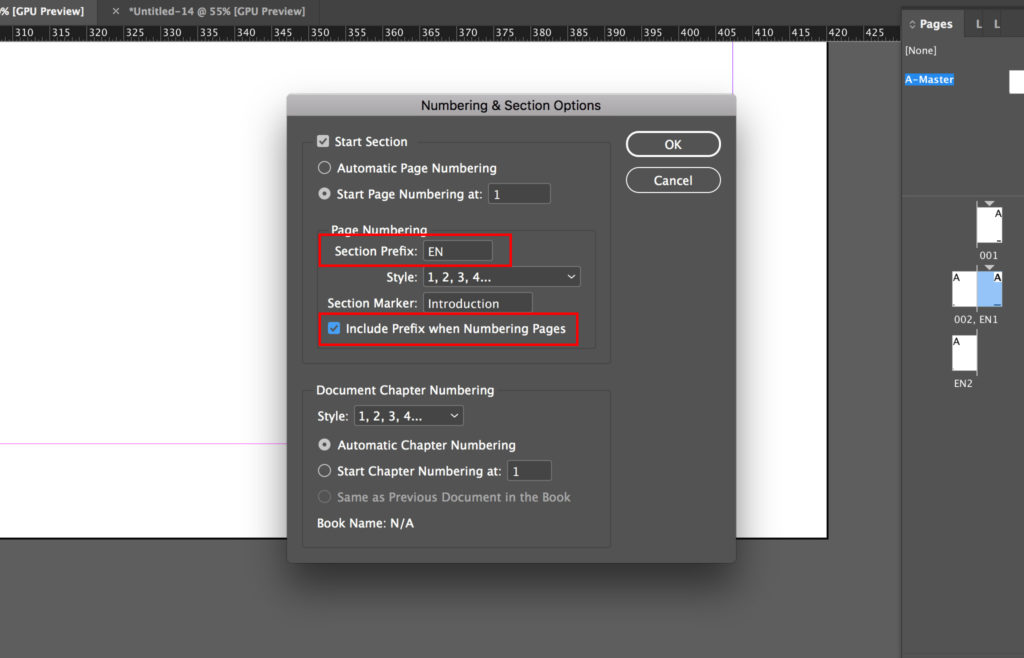 how to add page numbers to indesign