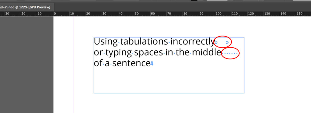 Tabulation and spaces in the middle of sentences