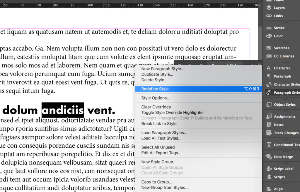 Redefine InDesign Paragraph Styles