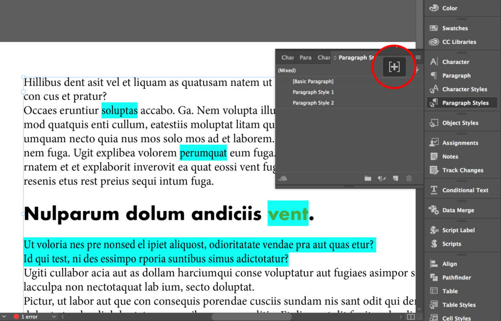 Highlight paragraph style overrides in InDesign