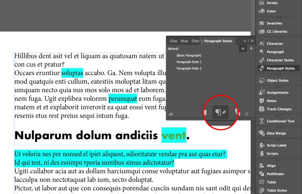 Clear paragraph style overrides with a click