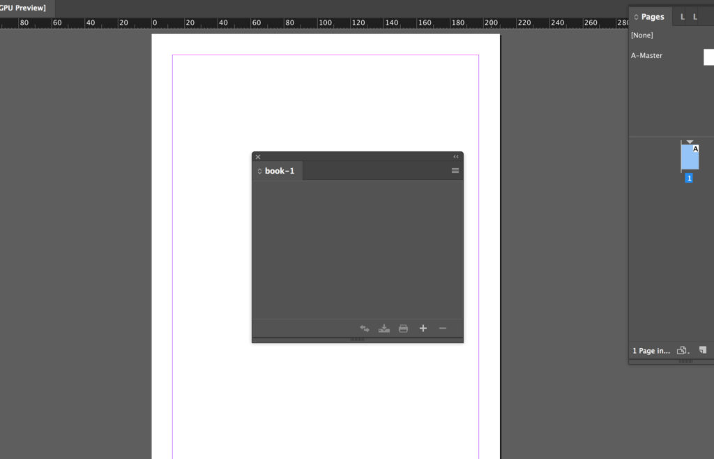 Book opened in the InDesign book panel.
