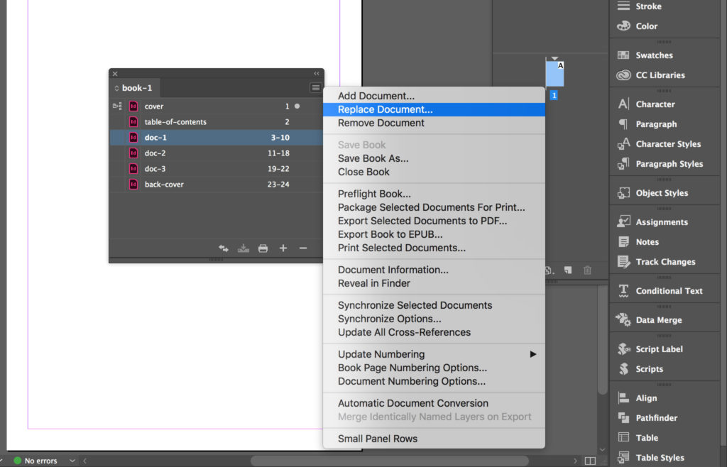 Replace a document in the InDesign book.