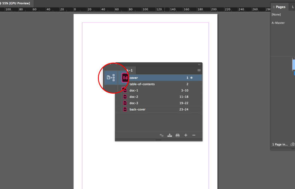 Select the source InDesign document.