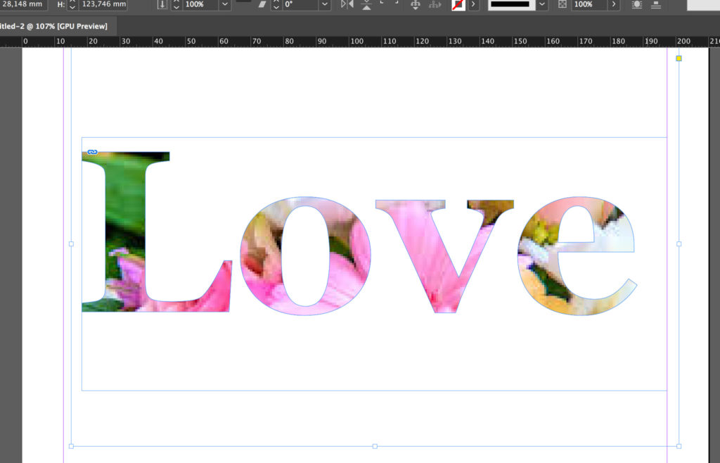 InDesign clipping mask with text