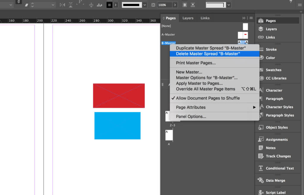 Delete an InDesign master Page