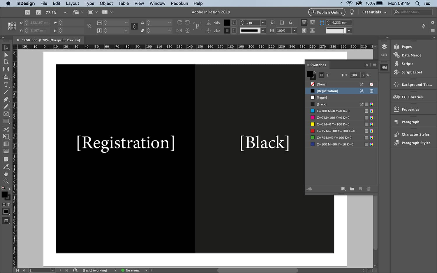 Difference between Registration and Black