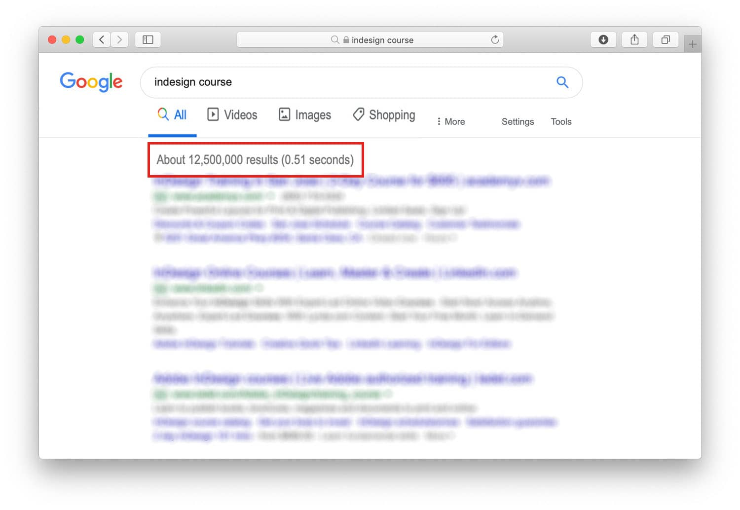 """Google results for keyword """"InDesign Course"""""""