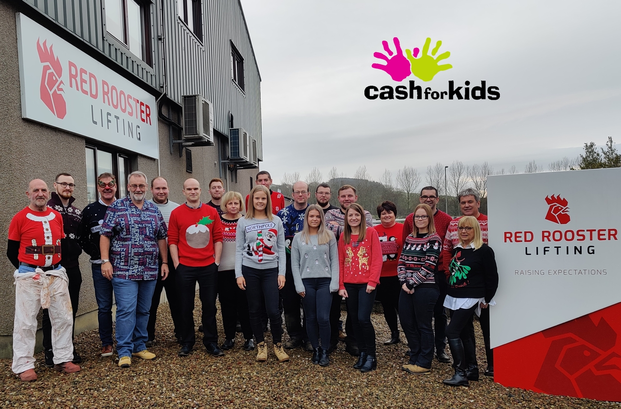Red Rooster Lifting Christmas Jumper Day 2019