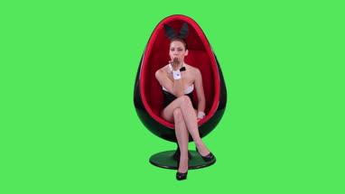 Female bunny in chair flirting