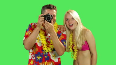 Tourist couple taking picture on holiday