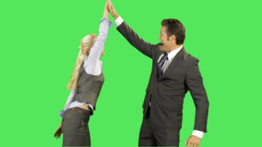 Business male and female high five
