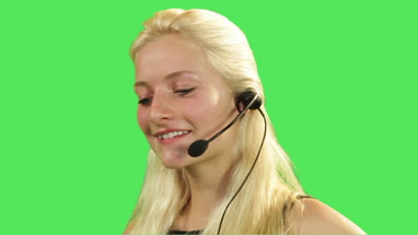 Female talking on headset