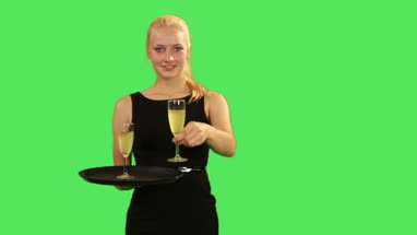 Female waitress, serving drink