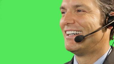 Business male talking on headset