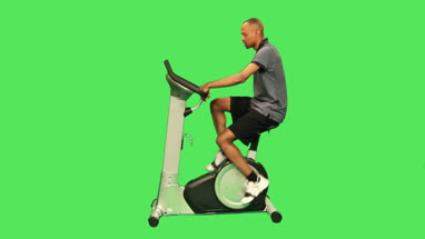 male training on exercise bicycle