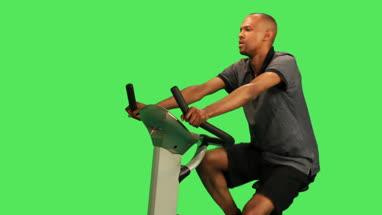 male training on exercise bicycle