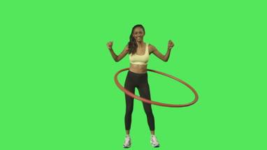 female hula hoop exercise