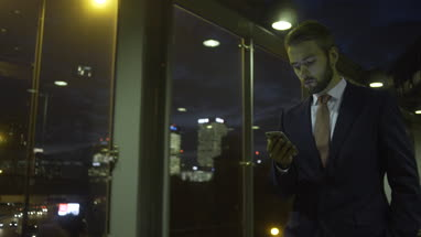 Business male on smart phone
