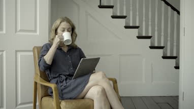Mature Adult Female working from home on digital tablet