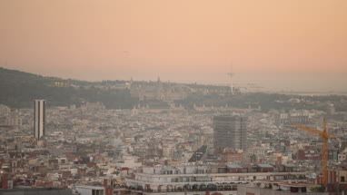 View on Skyline Barcelona, Spain at sunset