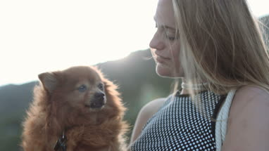 Young female with pet dog