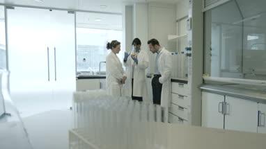 Team of scientists discussing liquid experiment