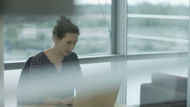 Female executive working in office on laptop